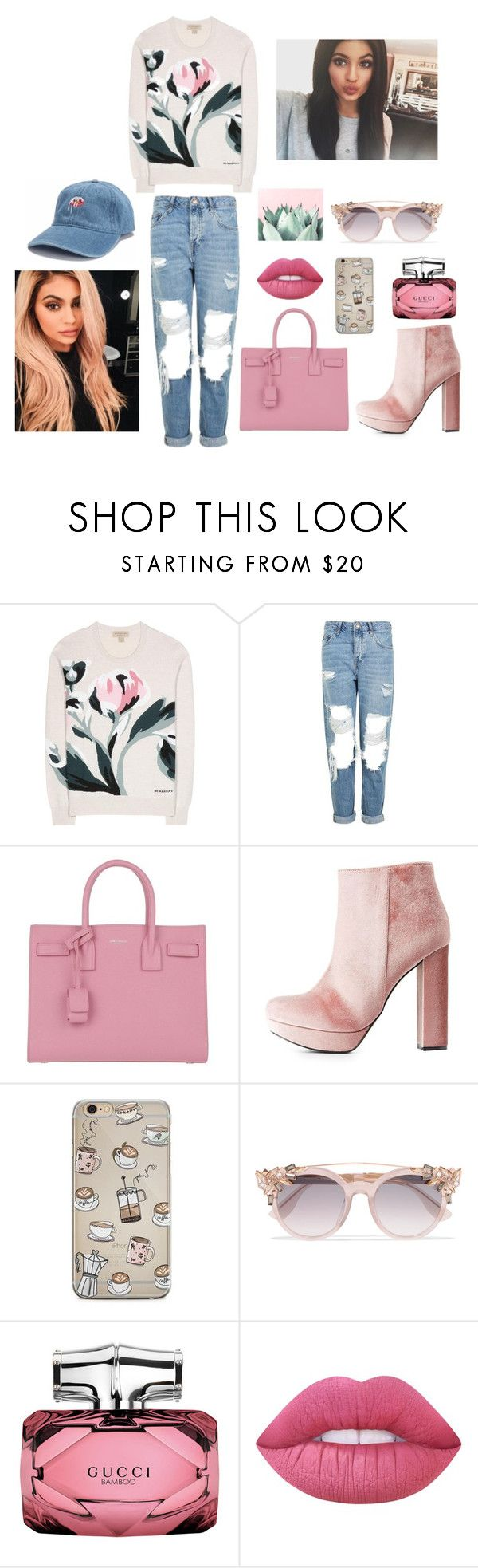 """""""kylie jenner"""" by mihan22 on Polyvore featuring Burberry, Topshop, Yves Saint Laurent, Charlotte Russe, Jimmy Choo, Gucci, Lime Crime and Justin Bieber"""