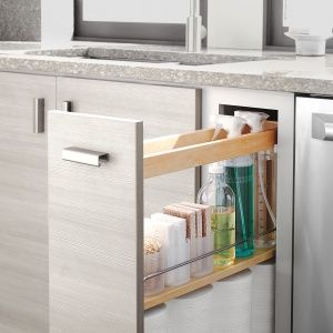 Clean Up- No more rummaging around under the sink a narrow pull-out cabinet is the perfect size for paper towels, sponges, and cleaners.
