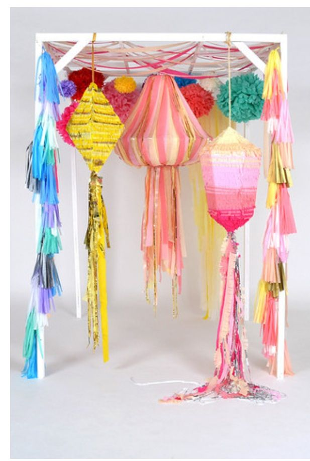 Awesome lanterns for your next party!Crepes Paper Decor, Parties Decorations, Stage Sets, Hanging Decor, Chandeliers Amp, Diy Tassels Chandeliers, Parties Ideas, Pvc Pipe, Parties Time