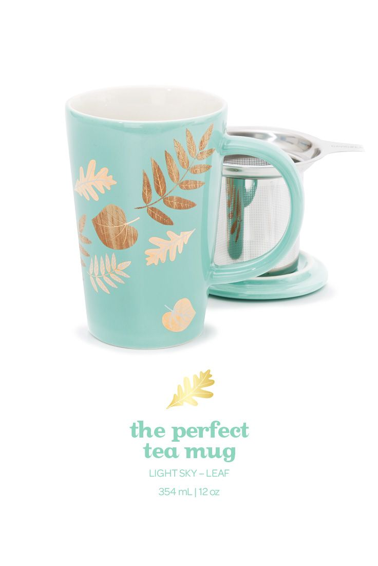 Cozy up with this beautiful leafy mug. Includes lid and infuser.
