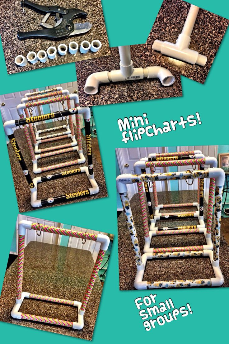 Super for small groups!!!  Saw these great mini flip charts on Pinterest with NO directions!  (Thanks!) So here ya go: you will need 1/2in pvc pipe (3 10in, 2 13in pieces & 4 1in pieces), 6 1/2in elbow pieces, 2 1/2in T pieces, and duck tape! You will need a saw or tool in picture to cut pvc. You will need the 1 inch pieces to fit the elbows to the Ts- don't try any kind of glue it wont work!!! Hope my frustration makes your task easier! It really is easy once you have the measurements.