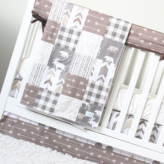 Woodlands Nursery Bedding Set, Arrows, Bears, Moose, Brown and Grey Crib Bedding