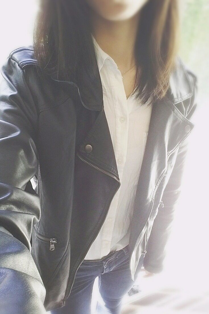 White Collared Shirt Black Leather Jacket Blue Jeans