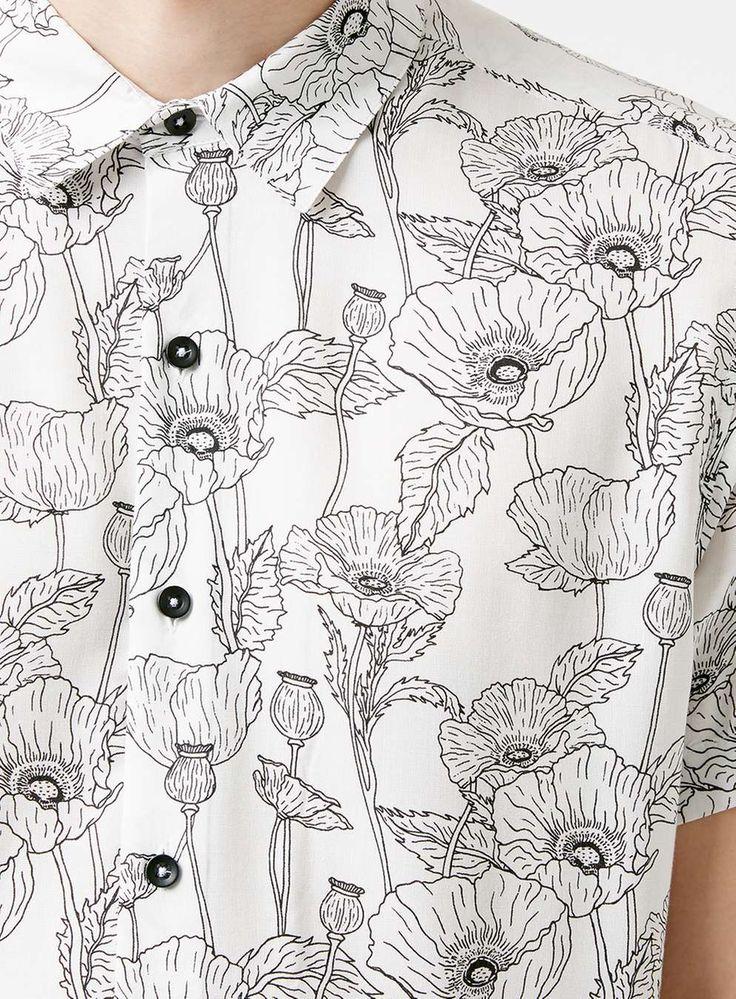Poppy Print Monochrome Short Sleeve Shirt - Men's Tops - Clothing