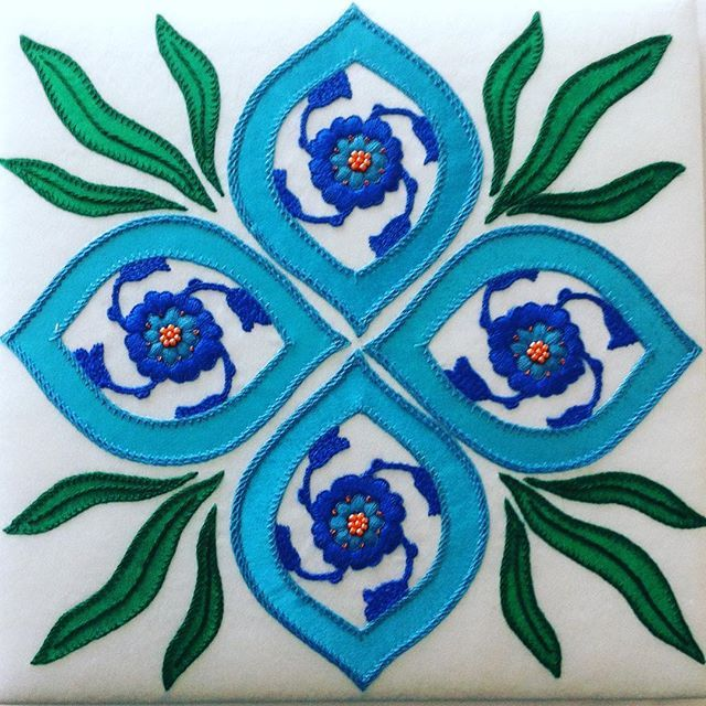 A tile embroidered in and on silk. #embroideryguild #embroiderersguild #embroidery #embroidery2016