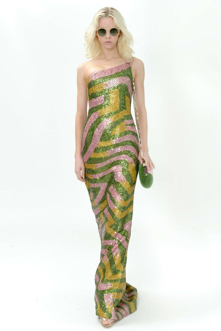 Dennis Basso | Resort 2015 | 25 Green/pink/yellow sequined one shoulder maxi dress