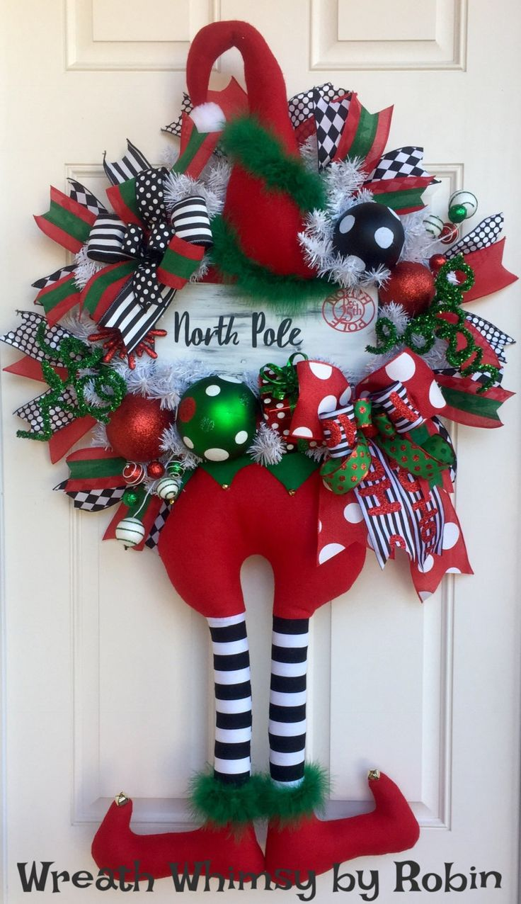 Christmas Elf Wreath with Hanging Legs and Hand Painted North Pole Sign in Red, Green, Black & White, Holiday Wreath, Whimsical Xmas Wreath by WreathWhimsybyRobin on Etsy