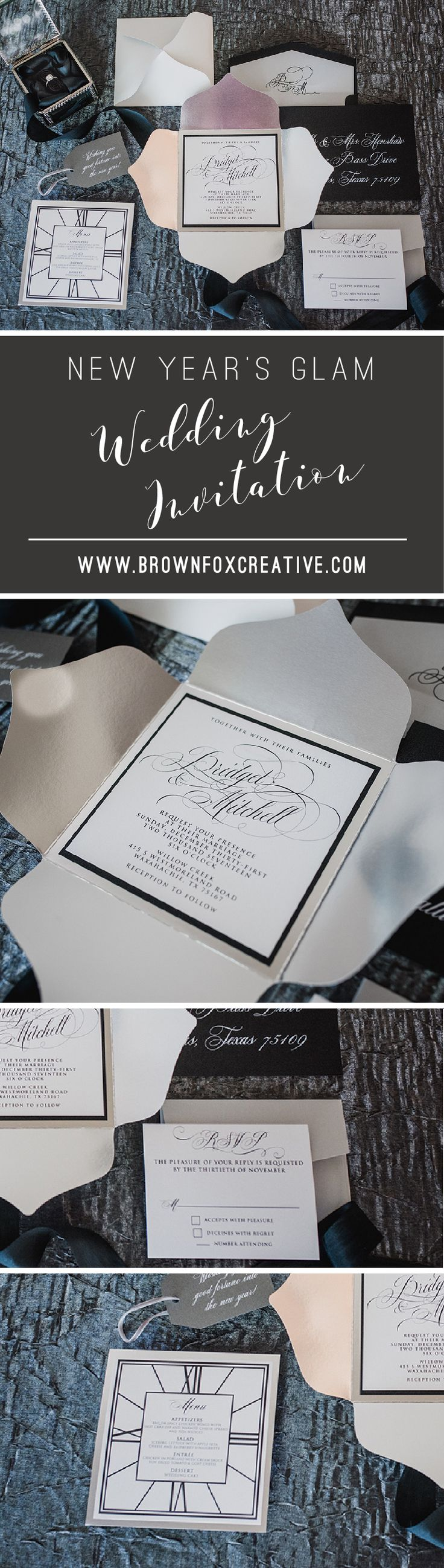 wedding invitationdesigns%0A New Years Black and Silver Petalfold Formal Elegant Wedding Invitation with  RSVP and Envelope Liner