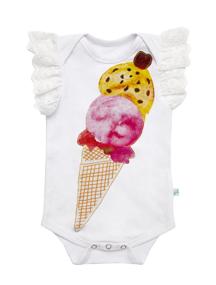 Alex and Ant Ice Cream Onsie Size 0 - 3mth  3 - 6mth  6 - 9mth