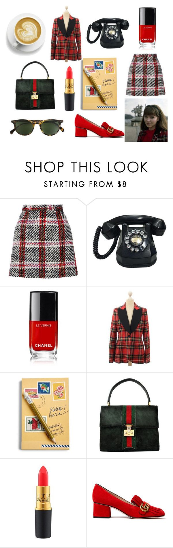 """""""french plaid"""" by skybluepatricia on Polyvore featuring Carven, Moschino, Vera Bradley, Gucci and Oliver Peoples"""