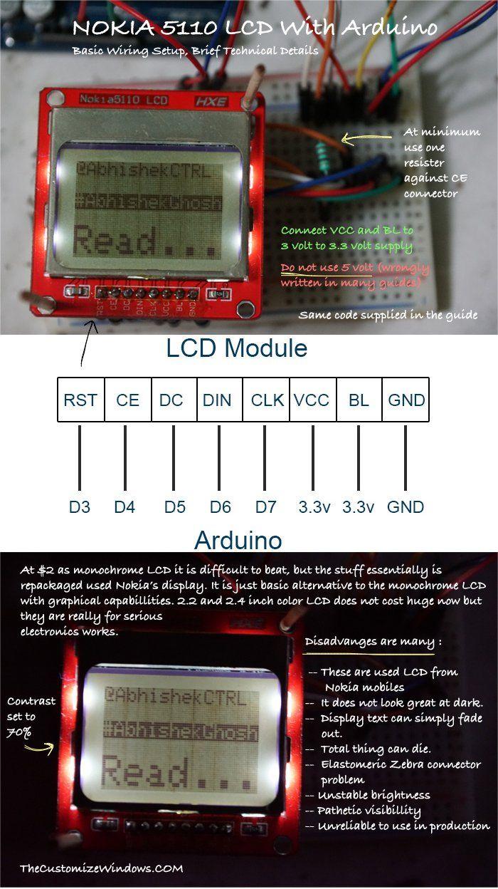 Awe Inspiring Nokia 5110 Arduino Wiring Technical Details Basic Arduino Lcd Wiring 101 Jonihateforg