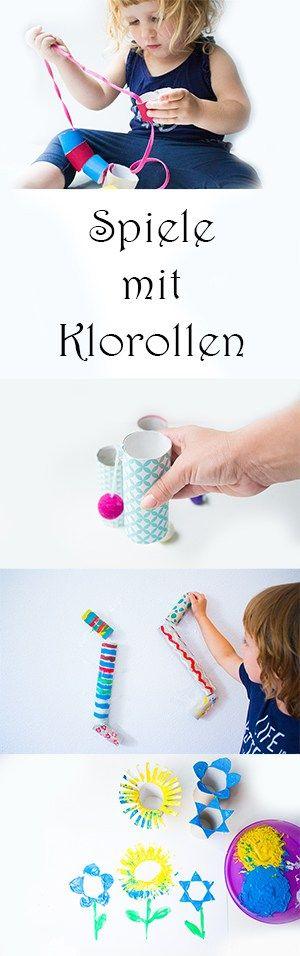 6 kreative Spiele mit Klopapierrollen basteln - Klorollen Spiele - Upcycling Bastelideen für Kinder - Murmelbahn, Fangbecher-Spiel, Fädelspiel, Klorollen-Stempel, Fernglas basteln