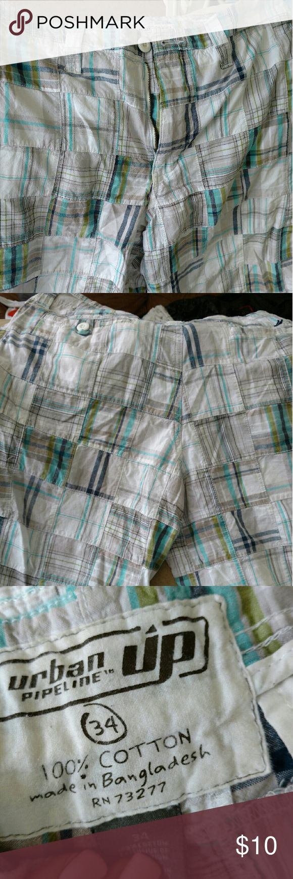 Mens shorts Mens shorts plaid real nice blue green blocking lots of life left for school urban pipeline  Shorts Hybrids