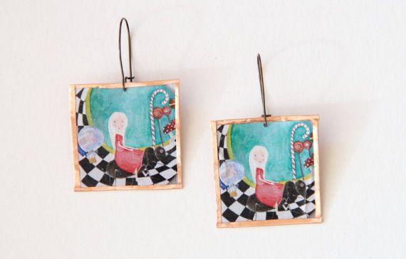 Painting earrings Decoupage earrings Frame by NataliesWunderland