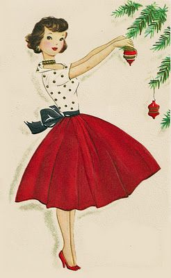 vintage christmas girl. Love her red skirt & red lipstick (plus polka-dots make me happy) Wish I could dress like this decorating our tree :):