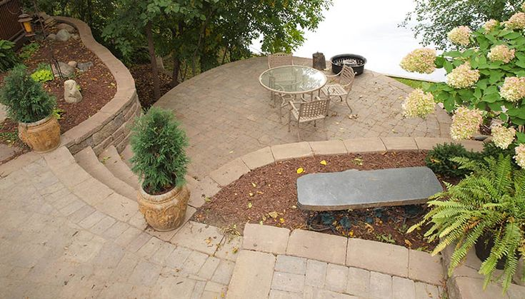 multi level backyard, retaining wall, concrete block wall, Allan Block, mulched landscaping, large slope with retaining wall, paver patio, Sunken Patio, Terrace