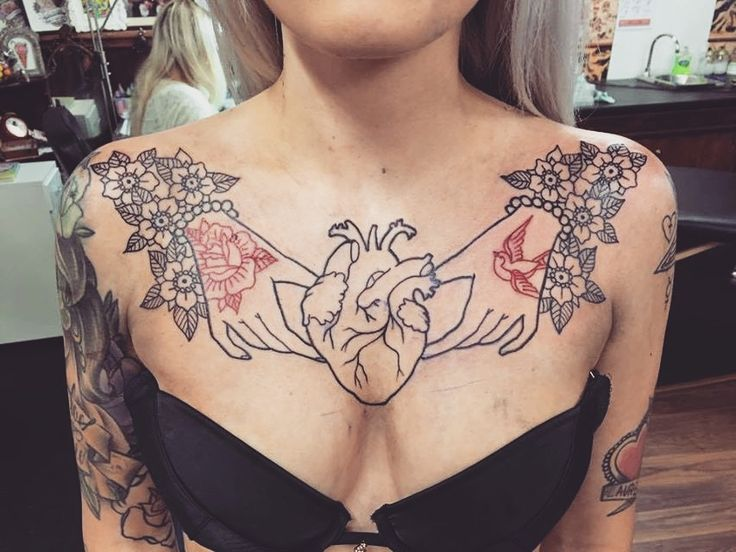 Freshly done chest piece outline by Neil Pengilley at Dust 'n' Bones Plymouth UK