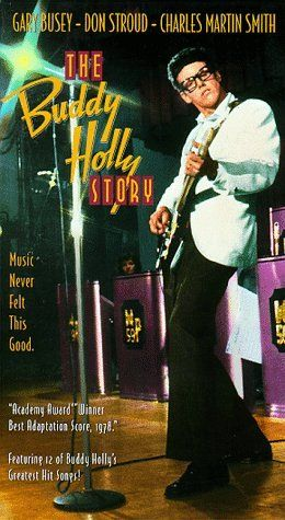 THE BUDDY HOLLY STORY (1978) - Gary Busey - Don Stroud - Charles Martin Smith - Directed by Steve Rash - Columbia Pictures - VHS Cover Art.