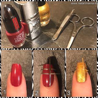 Tutorial unghie rosse e oro decorate con strisce adesive