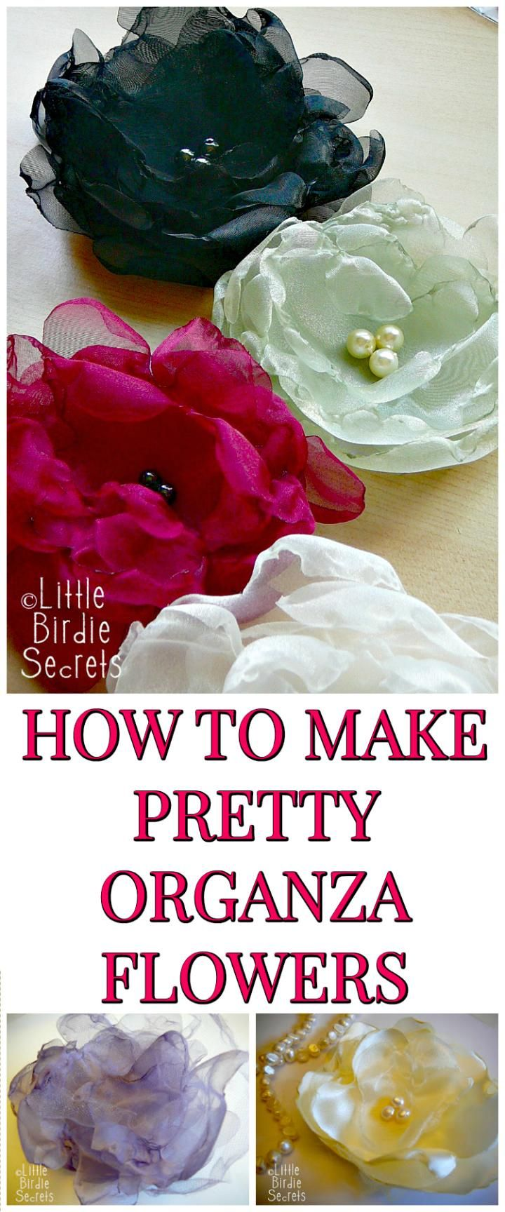 HOW TO MAKE PRETTY ORGANZA FLOWERS - 50 Easy Fabric Flowers Tutorial - Make Your Own Fabric Flowers - Page 3 of 10 - DIY & Crafts