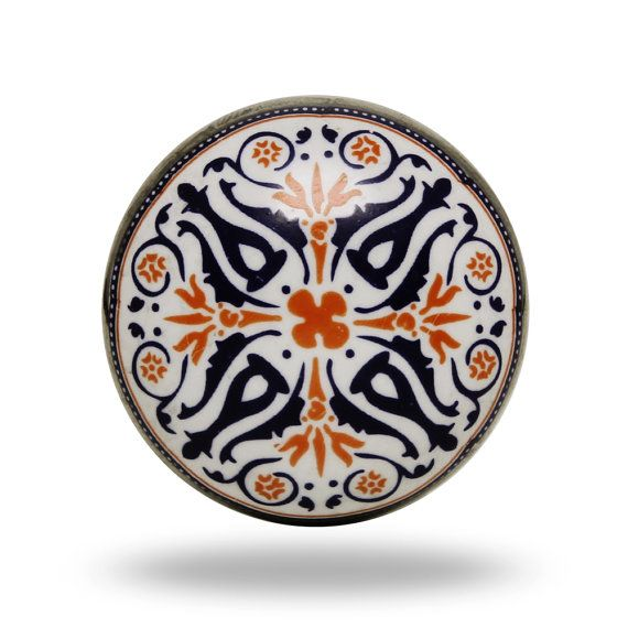 Black, White & Orange Ceramic Door Knob, Tangier Print Decorative Furniture Knob, Round Geometric Print Dresser Drawer Pull, Cabinet Handle