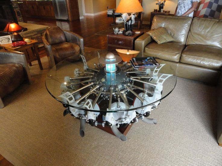 hmmm, radial engine coffee table and don't miss the table lamp, looks - 25+ Best Ideas About Engine Coffee Table On Pinterest Engine