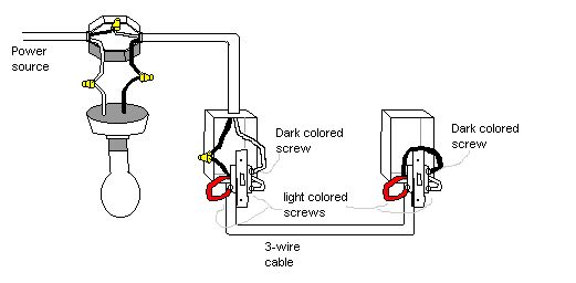 two way switching schematic wiring diagram 3 wire control