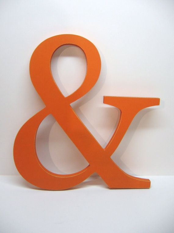Wood AMPERSAND Sign -15 inches - Painted Tangerine Orange - Weddings - Mr. & Mrs. - Photo Prop - Typography - Save the Date