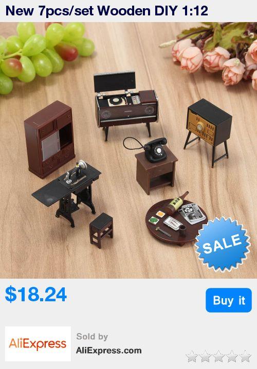 New 7pcs/set Wooden DIY 1:12 Simulation Miniature Dollhouse Furniture Mini Furniture Set For Children Dolls house Accessories * Pub Date: 07:01 Jul 9 2017