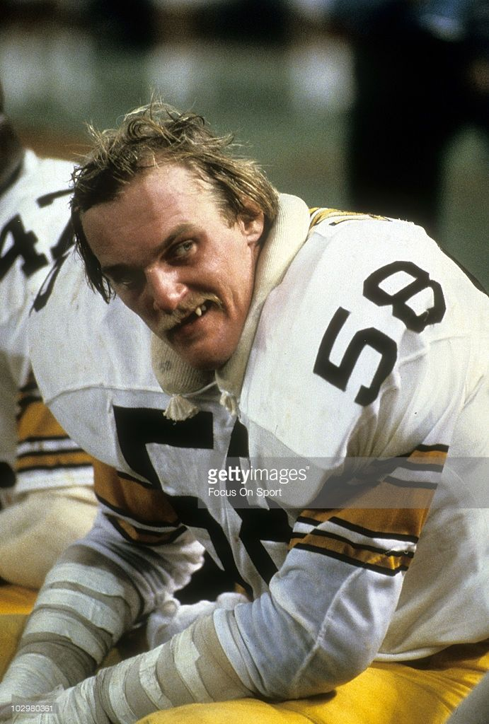 8bec89e9e8c Linebacker Jack Lambert  58 of the Pittsburgh Steelers on the bench in this  portrait circa 1975 during an NFL football game. Lambert played for the  Steelers ...