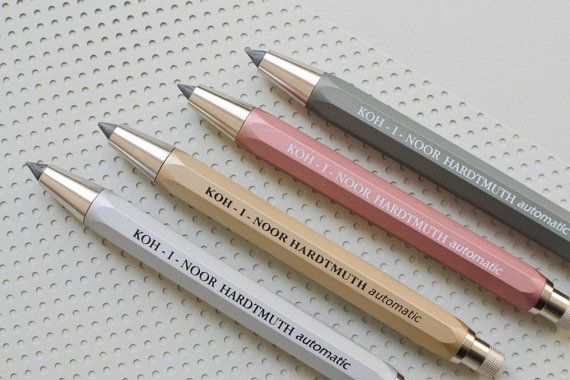 Lead Holder / Mechanical clutch pencil brass gold Koh-i-noor automatic graphite  Love this chunky piece! We use it in the studio all the time.