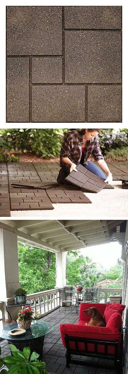 Eco-Friendly. These pavers are made of 100% recycled rubber. The light, flexible tiles can be installed on top of any existing hard surface such as wood, concrete and patio tiles. For use on balconies, patios, decks, play areas and more.