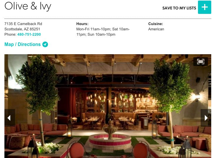 Olive and ivy scottsdale az for Olive garden locations phoenix