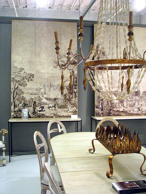 Tara Shaw Maison...love The Grisaille Panels In The Background.