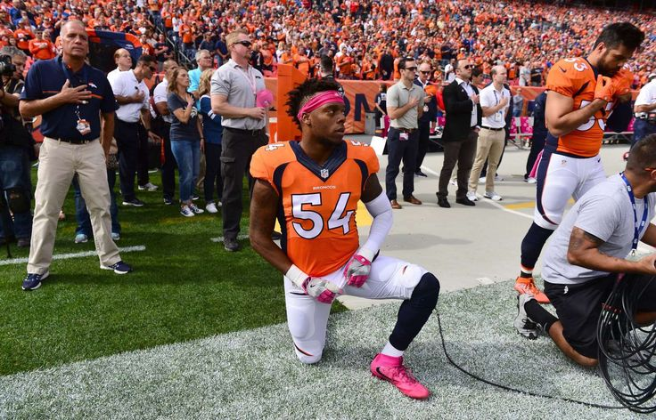 NFL players' national anthem protests   -  Denver Broncos inside linebacker Brandon Marshall (54) kneels during the national anthem before the start of the game against the Atlanta Falcons at Sports Authority Field at Mile High.