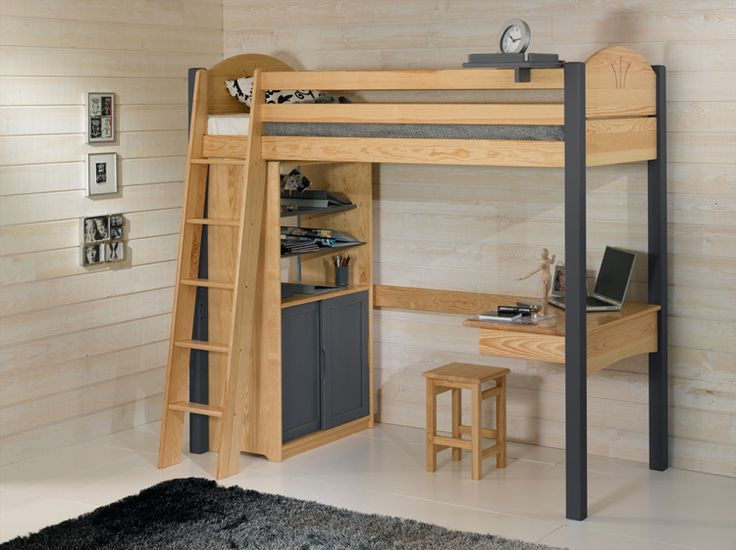 le lit mezzanine enfant avec le bureau et ses 2 blocs le. Black Bedroom Furniture Sets. Home Design Ideas