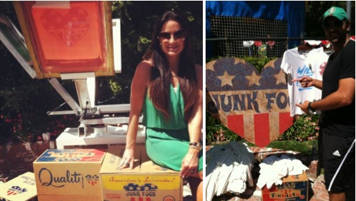 Kyle Richards and husband Mauricio at Portia Richards' Birthday with Junk Food Clothing Live Screenprinting