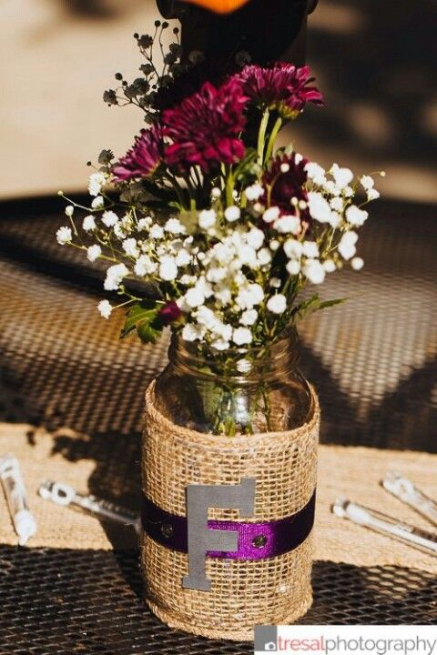 DIY Wedding Centerpieces Mason Jars For Vases Wrapped In Burlap And Purple Ribbon