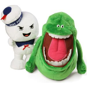 Plush Slimer and Stay Puft Marshmallow man???? Awesome.    I really want to make the girls these for Halloween!