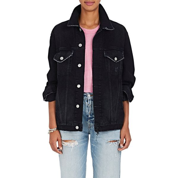 ADAPTATION Women's Warren Lotas Painted-Back Denim Jacket ($960) ❤ liked on Polyvore featuring outerwear, jackets, black, multi coloured jacket, colorful jackets, denim jacket, multi-color leather jackets and distressed jean jacket