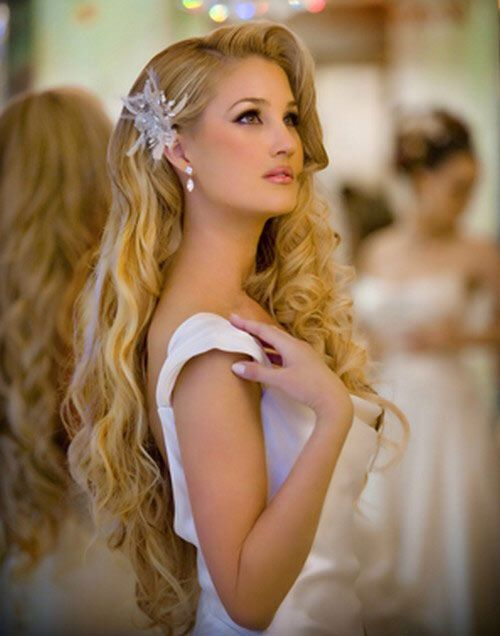 long hair style for a bride or bridesmaid