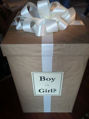 Box of balloons at family gender reveal. Will they be pink or blue?