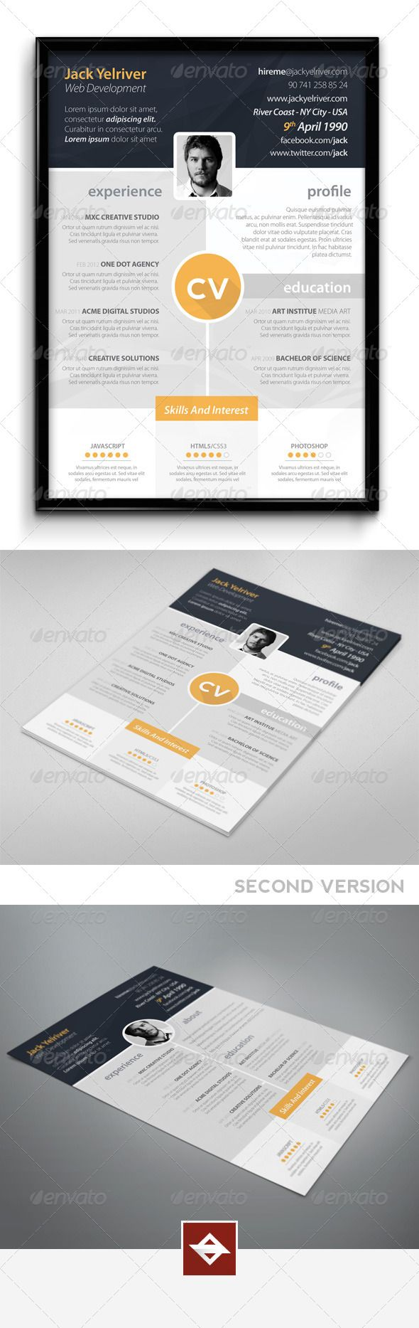 Premium CV — Photoshop PSD #typography #template • Available here → https://graphicriver.net/item/premium-cv/5525344?ref=pxcr