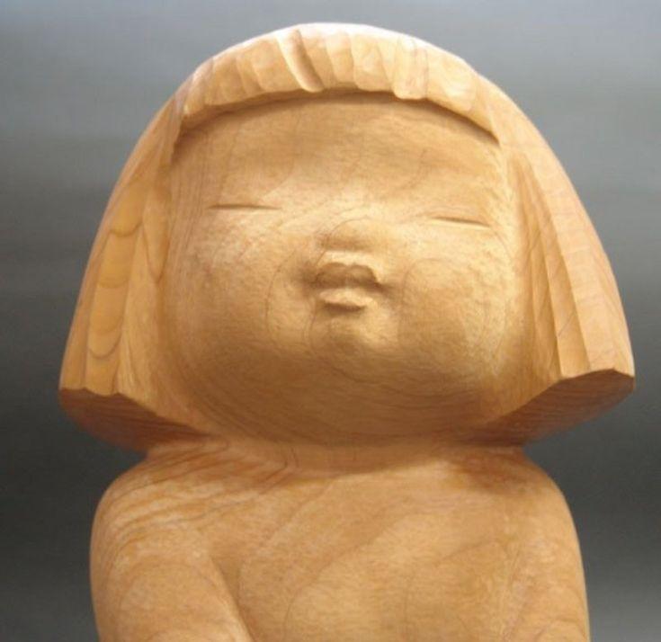 BEAUTIFUL Japonský WOOD sochařství, malé děvče Nobuo