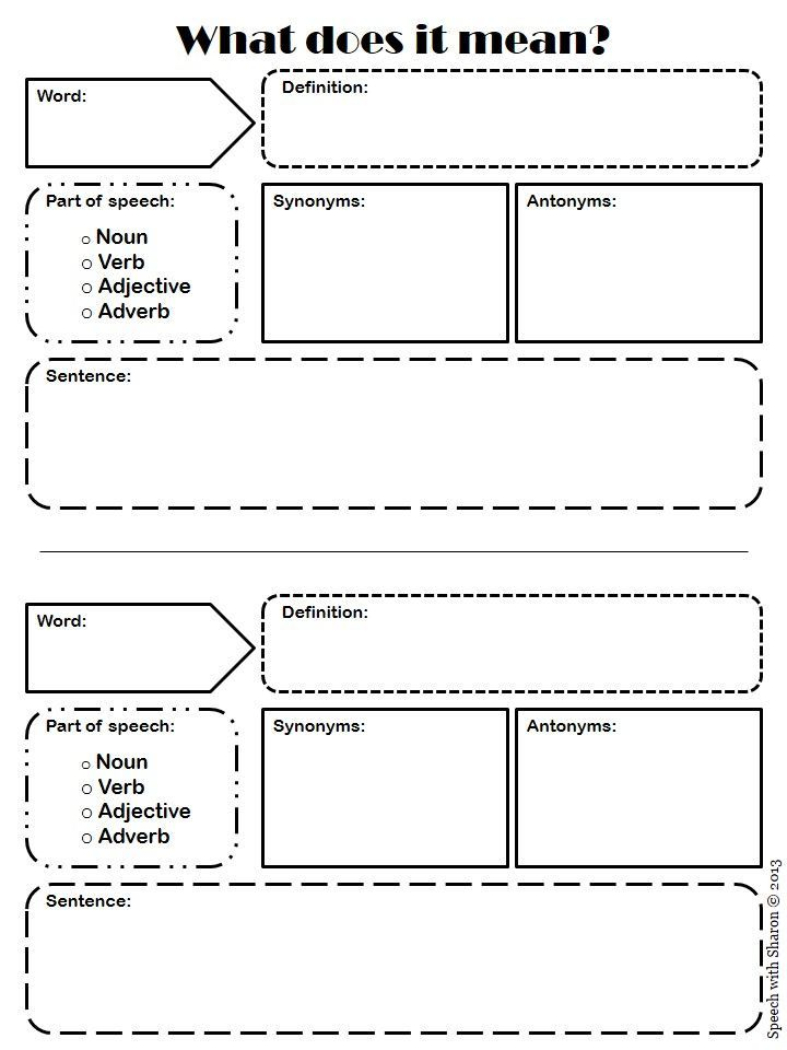 Vocabulary Activity Worksheets : Speech with sharon what does it mean vocabulary graphic