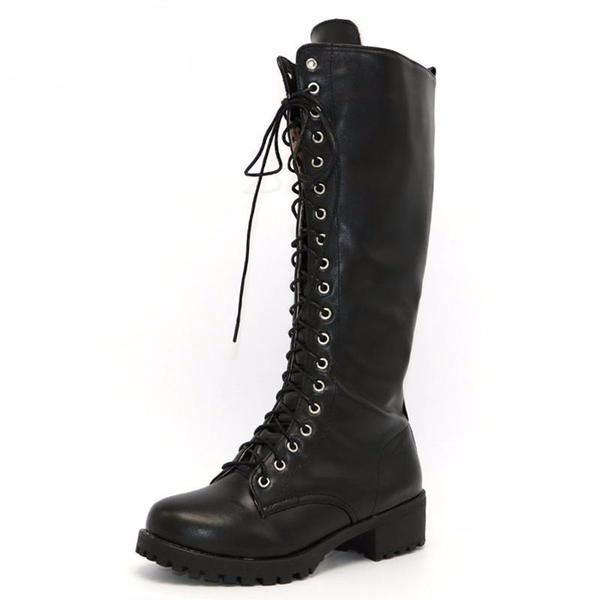 ce3830c8730a6 Riding Moto Knee High Lace Up Boots | Sassy Posh Products | Gothic ...