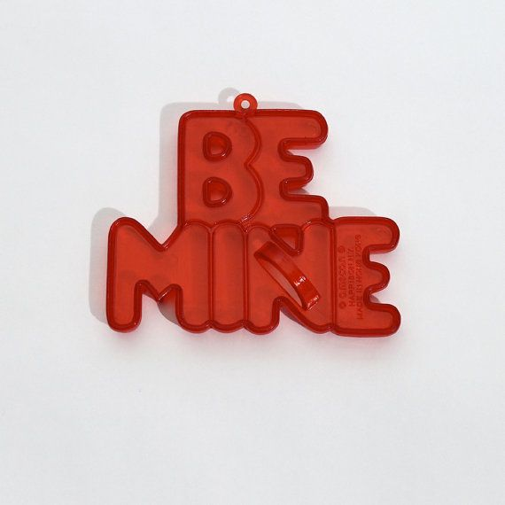 Vintage Be Mine Cookie Cutter Red Plastic Valentine by StripedKat, $5.00