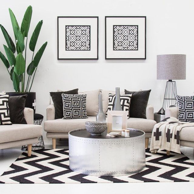 Our favourite display in our designer showroom right now // Bec has wowed us again with her styling skills // palm leaf $154.95, havana sofa 2.5 seater $1434 , havana single sofa $1134 each, hunter wrap coffee table $1340, @designerboys framed art $548 each, floor rug $460, wire table lamp $229.95, accessories start at $19.95, cushions from $49.95 // Shop with us or ask us how we can transform your home - 07 5523 9825