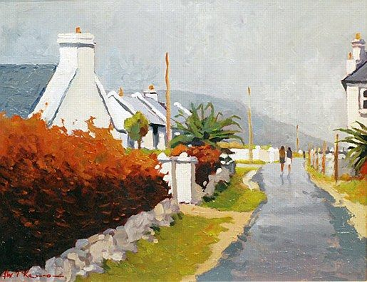 Alex McKenna-Out for a walk,Keel,Achill  #country #cottage #art #painting #Ireland #sky #landscape #AlexMcKenna #DukeStreetGallery
