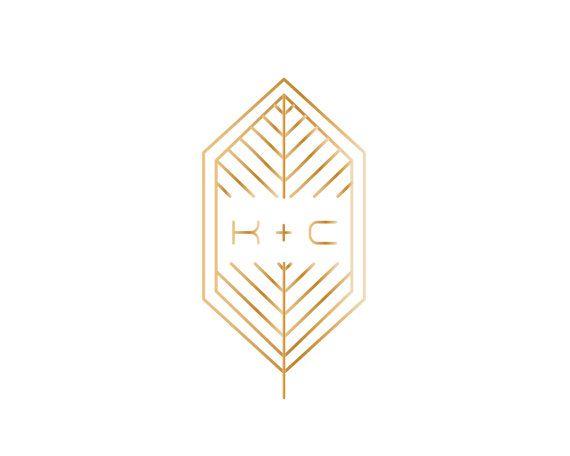 Gold Geometric Leaf Wedding Logo with Art by JuneMangoWeddings
